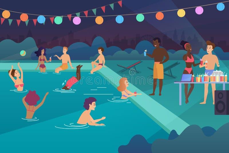 Giovani felici che hanno una festa in piscina all'illustrazione di vettore del fumetto di notte illustrazione vettoriale