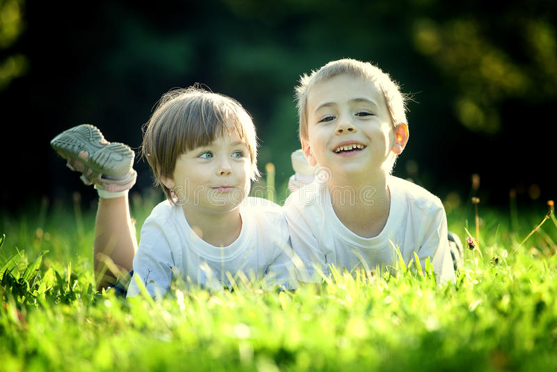 Giovani fratelli germani su erba immagini stock libere da diritti