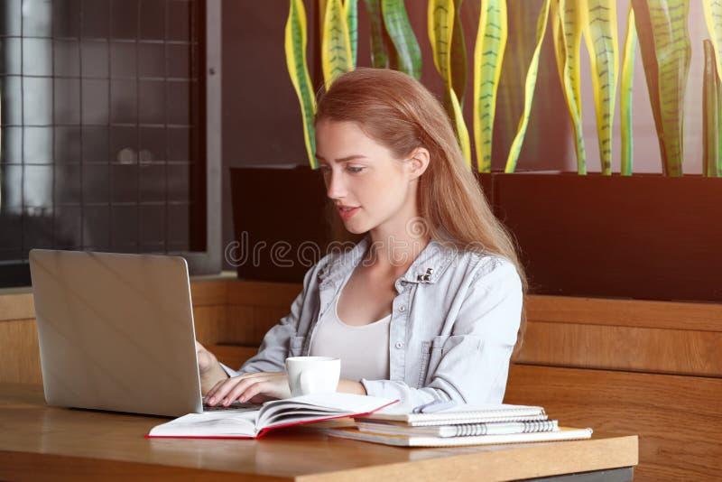 Giovani free lance femminili con funzionamento del computer portatile in caffè fotografia stock