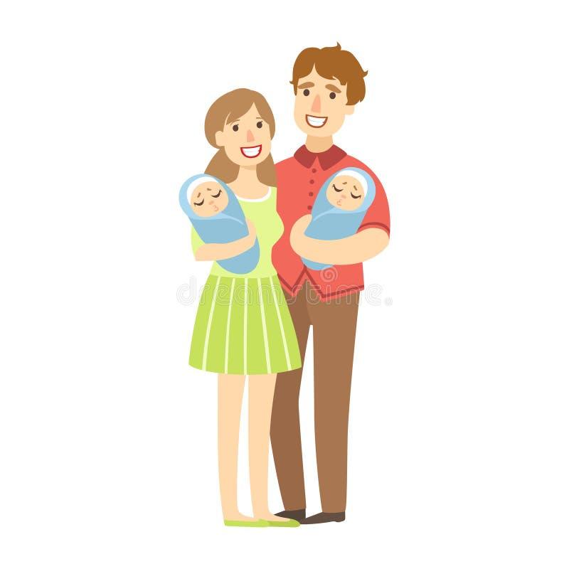 Giovani genitori che tengono i gemelli neonati in armi, illustrazione dalla serie amorosa felice delle famiglie illustrazione vettoriale