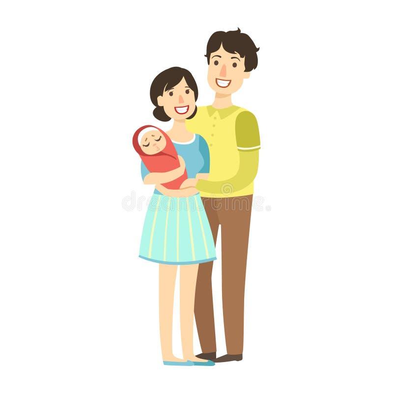 Giovani genitori con il bambino neonato in armi, illustrazione dalla serie amorosa felice delle famiglie illustrazione di stock