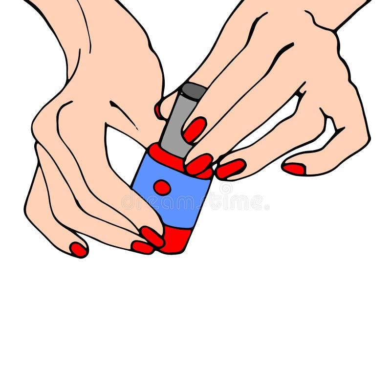Giovani mani femminili con una bottiglia rosa dello smalto Vettore illustrazione di stock