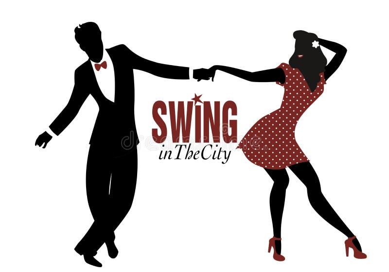 Giovani oscillazione, lindy hop o roccia e rol di dancing della siluetta delle coppie illustrazione di stock