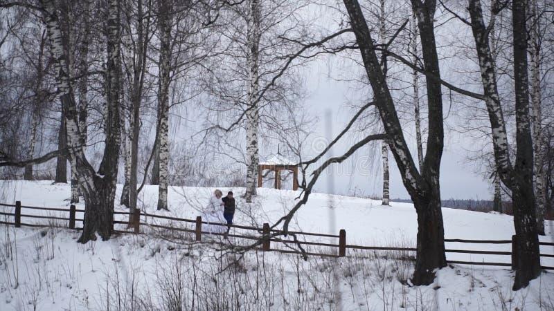 Giovani persone appena sposate che camminano fuori La sposa e lo sposo camminano insieme nel parco nell'inverno o l'estate e tene fotografie stock libere da diritti