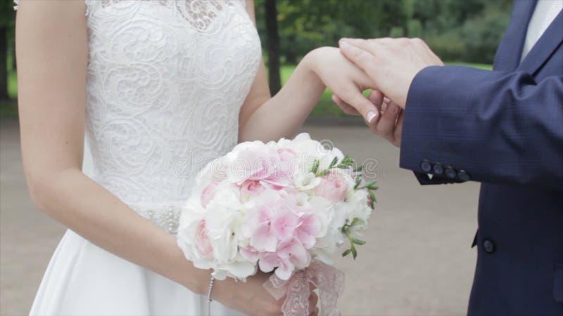 Giovani persone appena sposate che camminano fuori La sposa e lo sposo camminano insieme nel parco nell'inverno o l'estate e tene immagine stock libera da diritti