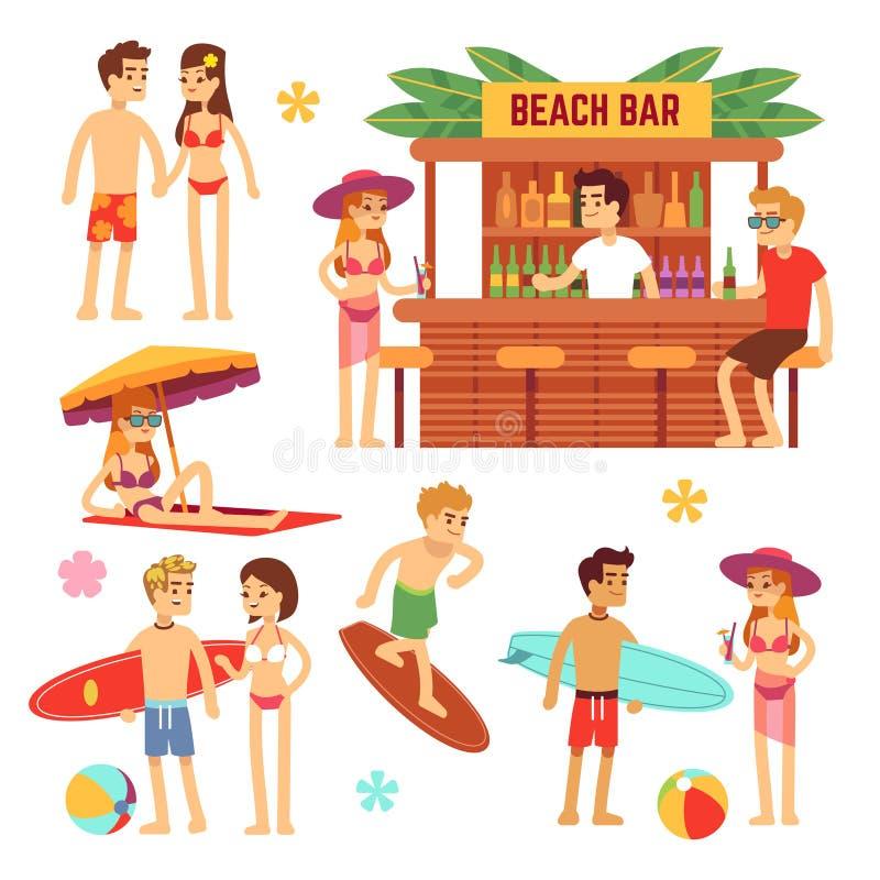 Giovani prendenti il sole sulla spiaggia Coppie di divertimento sulle vacanze estive illustrazione vettoriale