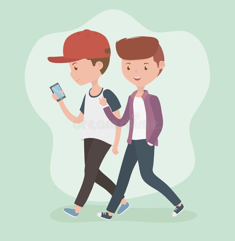 Giovani ragazzi che camminano facendo uso degli smartphones royalty illustrazione gratis