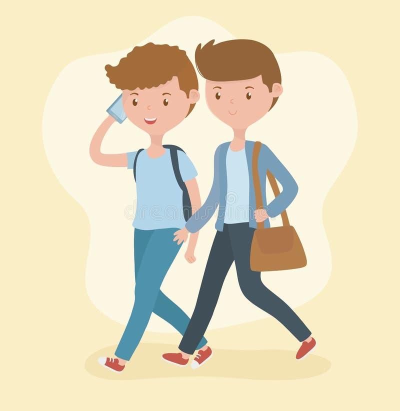 Giovani ragazzi che camminano facendo uso degli smartphones illustrazione di stock