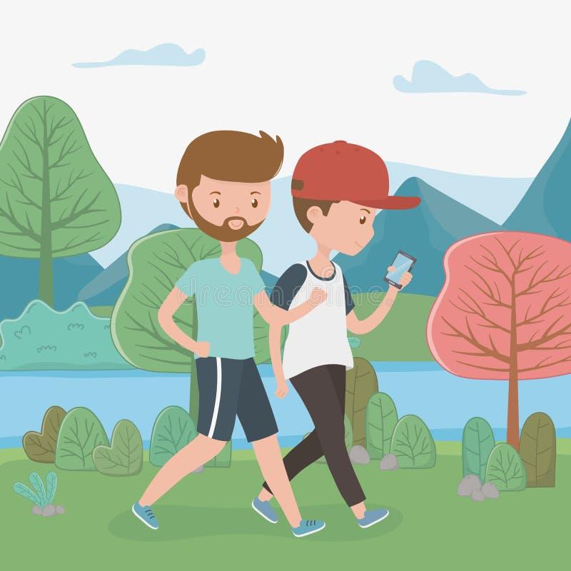 Giovani ragazzi che camminano facendo uso degli smartphones nel parco illustrazione di stock