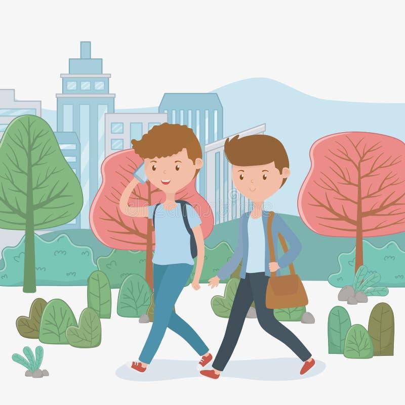 Giovani ragazzi che camminano facendo uso degli smartphones nel parco royalty illustrazione gratis