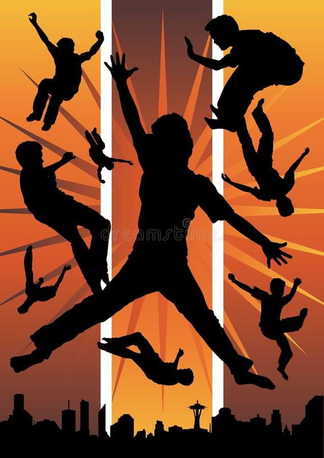 Giovani ragazzi che saltano nella città illustrazione di stock