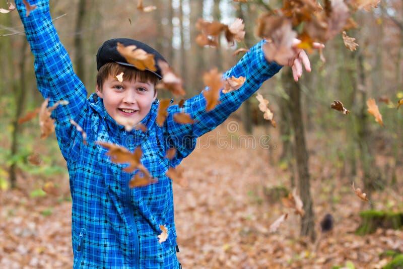 Giovani ragazzo e foglie fotografia stock libera da diritti