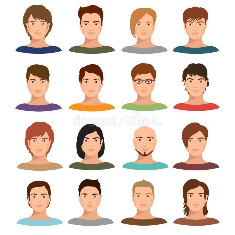 Giovani ritratti dell'uomo del fumetto con la varia acconciatura Insieme maschio di vettore degli avatar illustrazione vettoriale