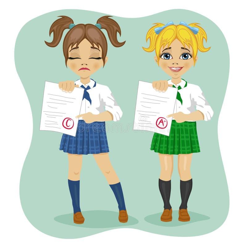 Giovani scolare che mostrano esame con i buoni e cattivi risultati dei test royalty illustrazione gratis