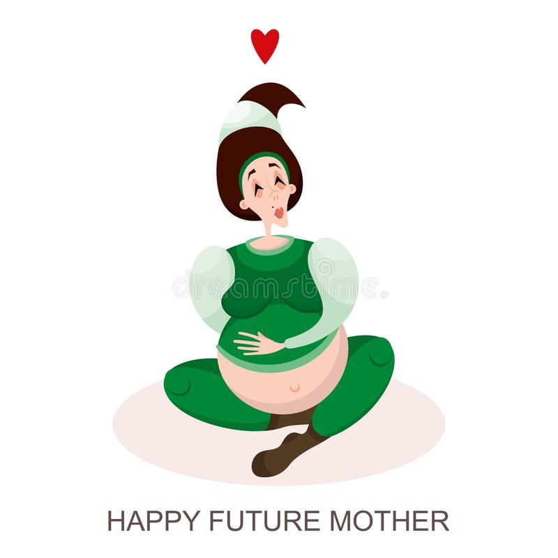 Giovani sogni della donna incinta illustrazione vettoriale