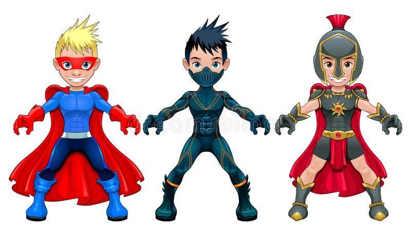 Giovani supereroi e guerrieri dell'avatar illustrazione di stock