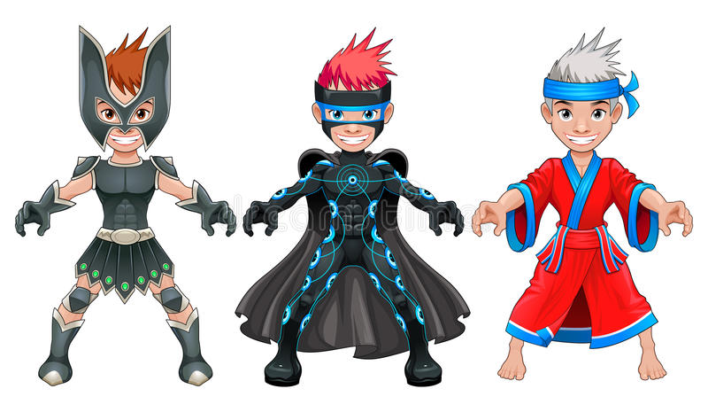 Giovani supereroi e guerrieri dell'avatar illustrazione vettoriale