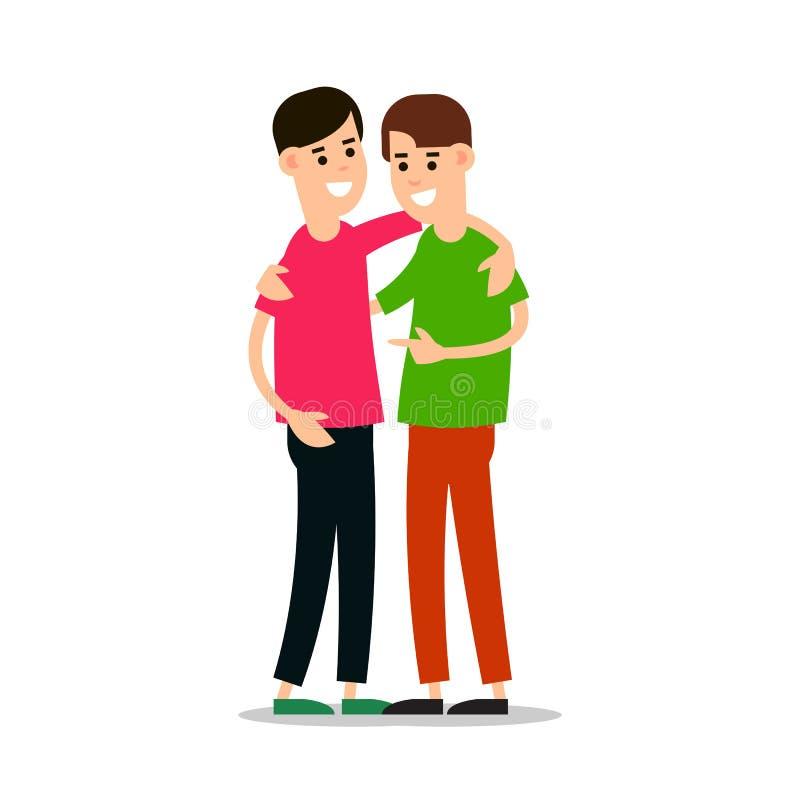 Giovani tipi che si stanno e che si abbracciano Gruppo di giovane peopl illustrazione di stock