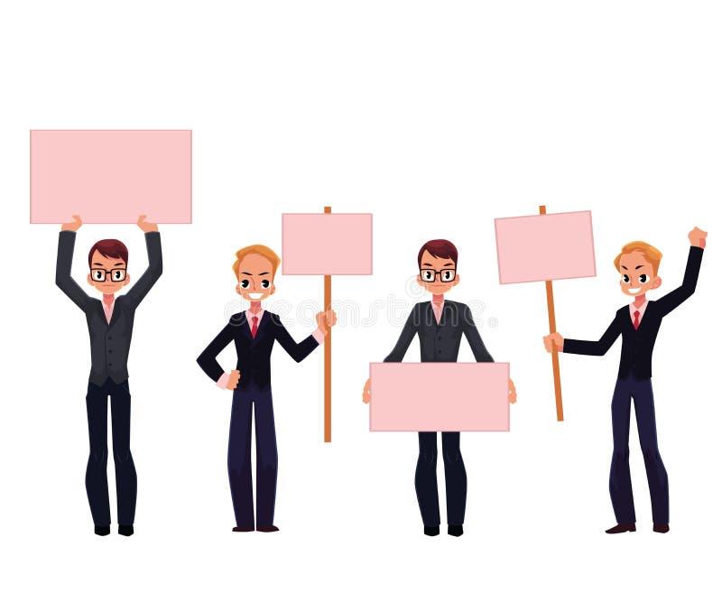 Giovani, uomini d'affari in vestiti che tengono i bordi vuoti, colpo illustrazione vettoriale