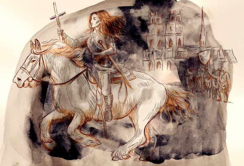 Giovanna d'Arco - un'illustrazione dipinta a mano illustrazione di stock