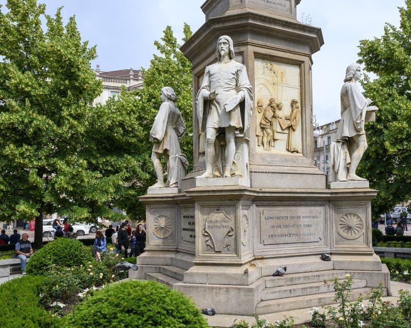 Giovanni Antonio Boltraffio, Monument to Leonardo Da Vinci in Piazza della Scala Square, Milan, Italy. Pictured is Giovanni Antonio Boltraffio, part of a stock photography