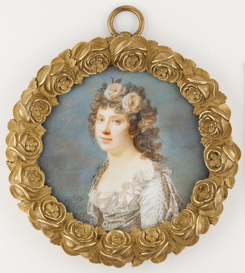 Giovanni Domenico Bossi (1765–1853): Young Woman with Garland of Flowers / Nuori seppelepäinen tyttö / Ung kvinna me royalty free stock photos
