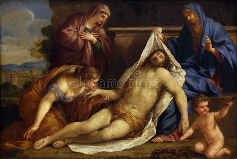 Giovanni Francesco Romanelli: Lamentation of Christ. Old Masters Collection, Croatian Academy of Sciences in Zagreb, Croatia stock photos