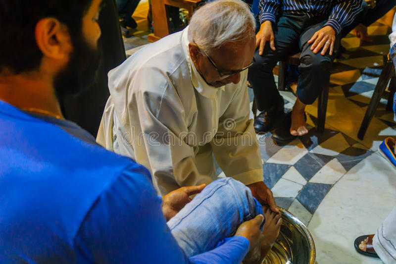 Giovedì santo in Stella Maris Carmelite Monastery, Haifa fotografia stock