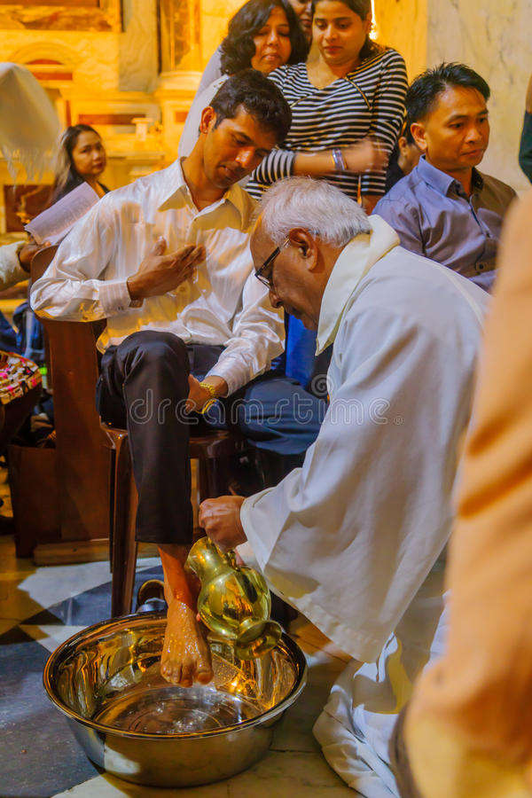 Giovedì santo in Stella Maris Carmelite Monastery, Haifa fotografie stock