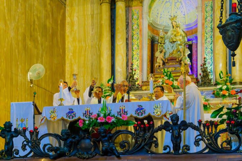 Giovedì santo in Stella Maris Carmelite Monastery, Haifa immagine stock libera da diritti