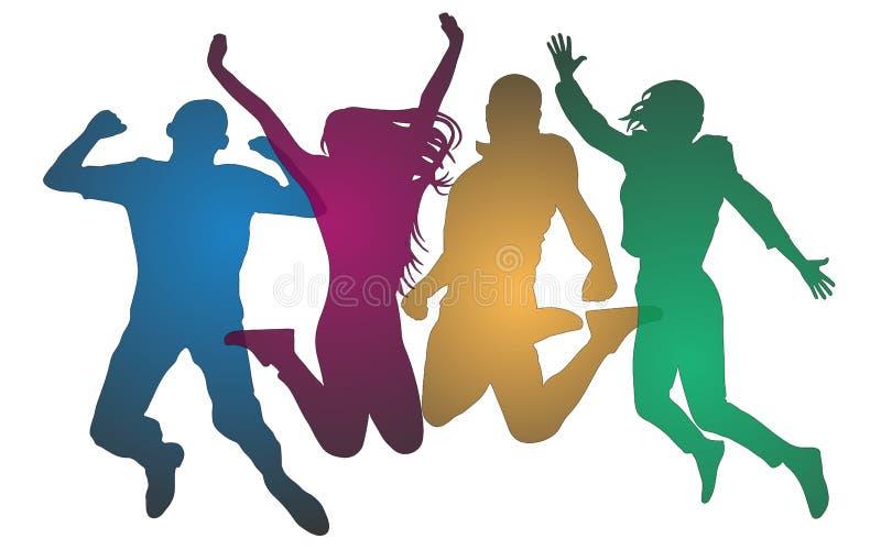 Gioventù in un salto colorata Uomo allegro e donna isolati illustrazione di stock