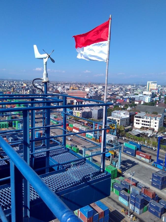Gipfel im Hafen Makassar stockbild