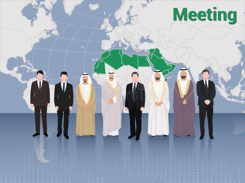 Gipfeltreffen von von von Araber-und Europäer-Geschäftsleuten und Politik lizenzfreie abbildung