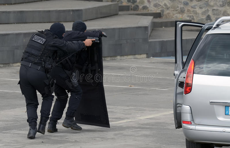 GIPN in exercice. Exercice with the intervention group of the French Police stock photos