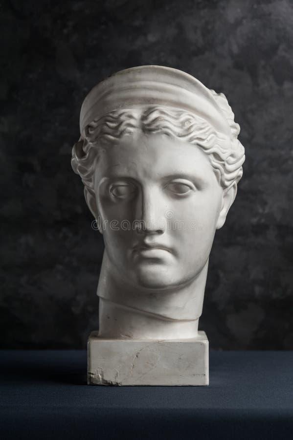 Gipskopia av det forntida statyDiana huvudet på en mörk texturerad bakgrund Framsida f?r murbrukskulpturkvinna royaltyfri foto