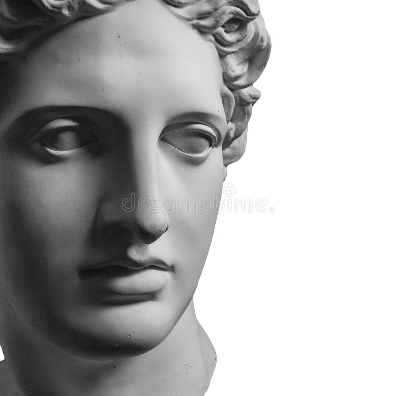 Gipsstatue von Apollo-` s Kopf lizenzfreies stockbild