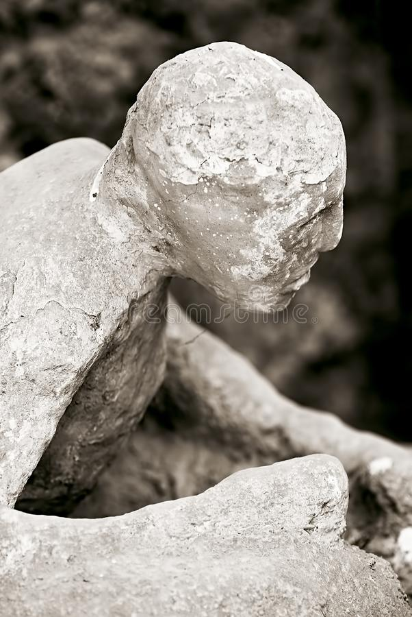 Gipsverbanden van slachtoffers` organismen in Pompei in Italië royalty-vrije stock foto
