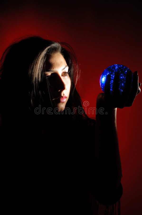 Gipsy woman with christal ball royalty free stock image