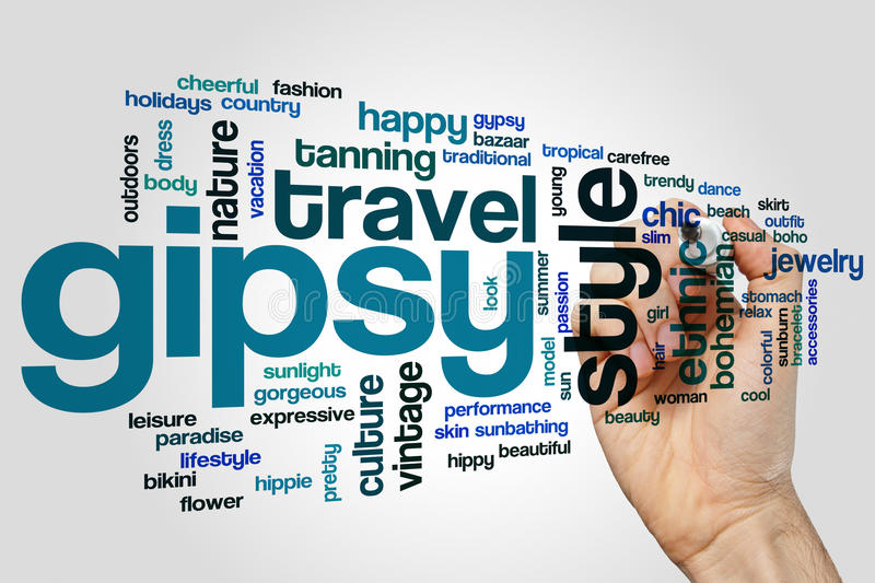 Gipsy word cloud. Concept on grey background stock image