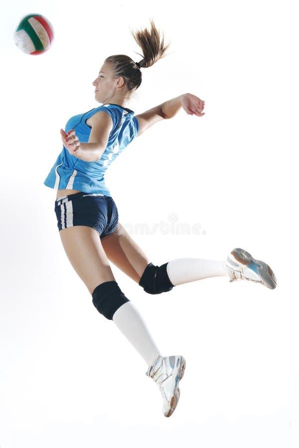 gir играя волейбол стоковое изображение