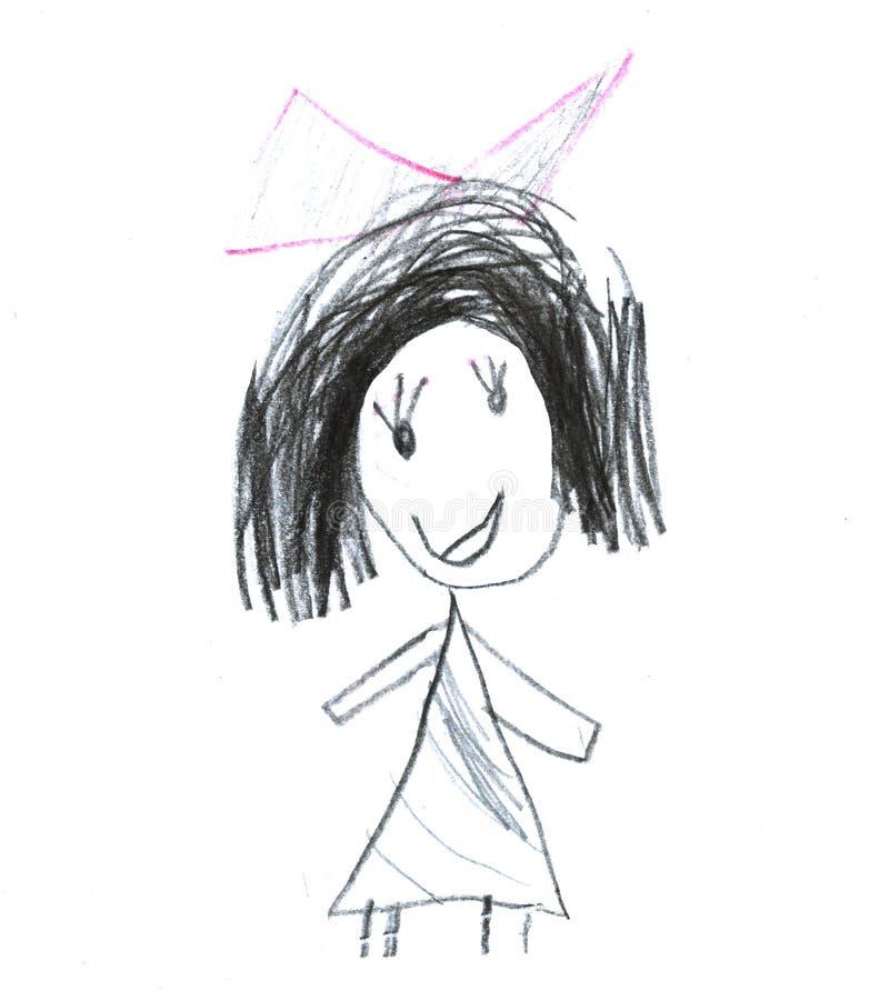 Gir ребенк s crayon воска вычерченное изолированное на белизне Элементы дизайна мела ребенка s вычерченные пастельные объекты реб иллюстрация вектора