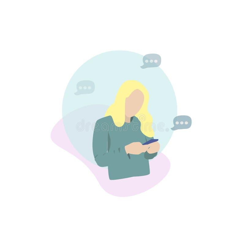 Gir che esamina il suo mobile mandando un sms ad un messaggio royalty illustrazione gratis