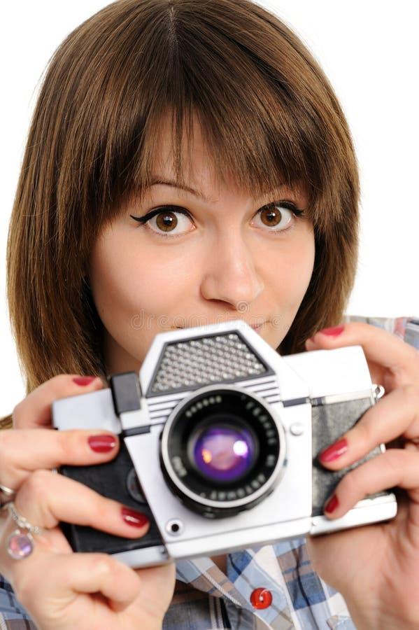 Gir con la cámara de la vendimia imagenes de archivo