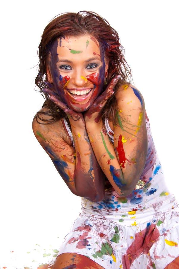 Gir felice spalmato in vernice immagini stock