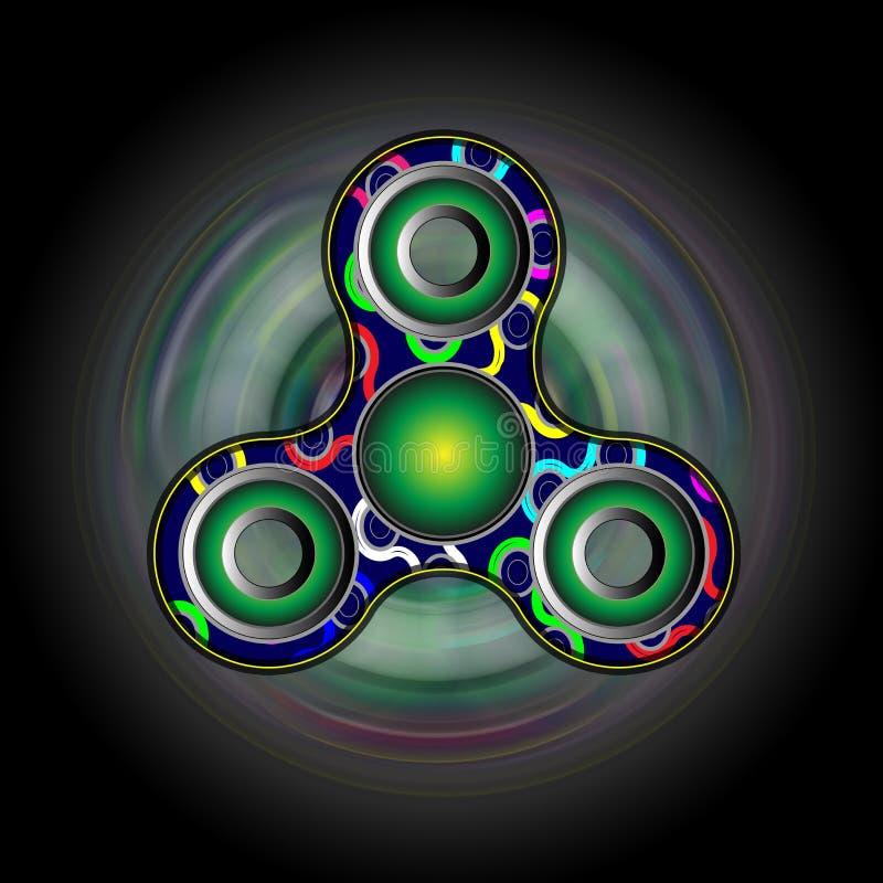 Girador da inquietação no movimento - brinque mover-se para o realce do alívio de tensão e da atenção 3d rendem a ilustração ilustração do vetor