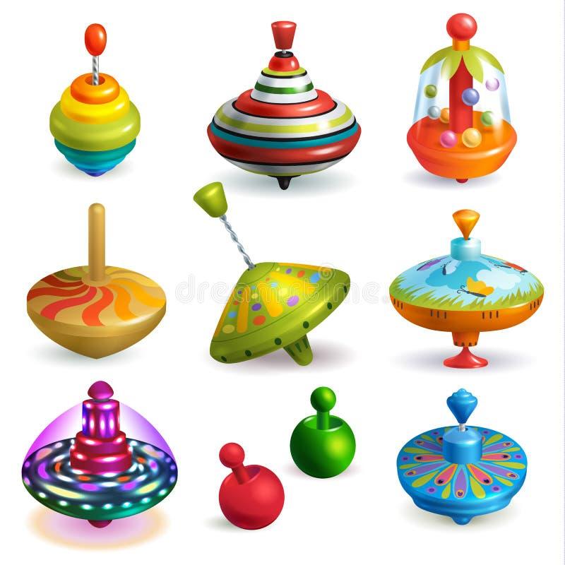 Girador de zumbido do carrossel superior das crianças do vetor do brinquedo e jogo do grupo de gerencio colorido da ilustração do ilustração stock