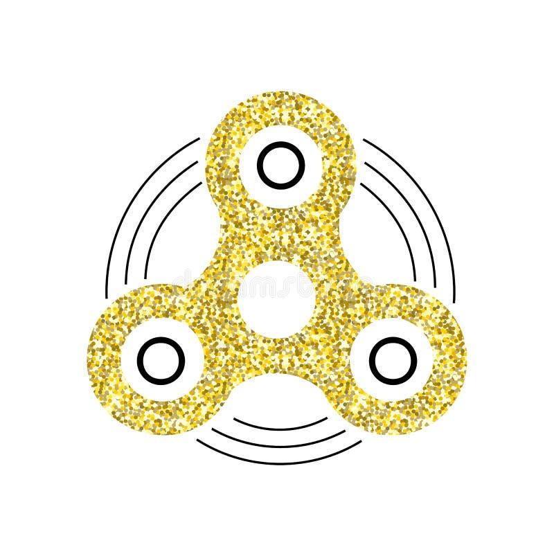 Girador do ouro Ícone do brinquedo da inquietação da mão ilustração do vetor