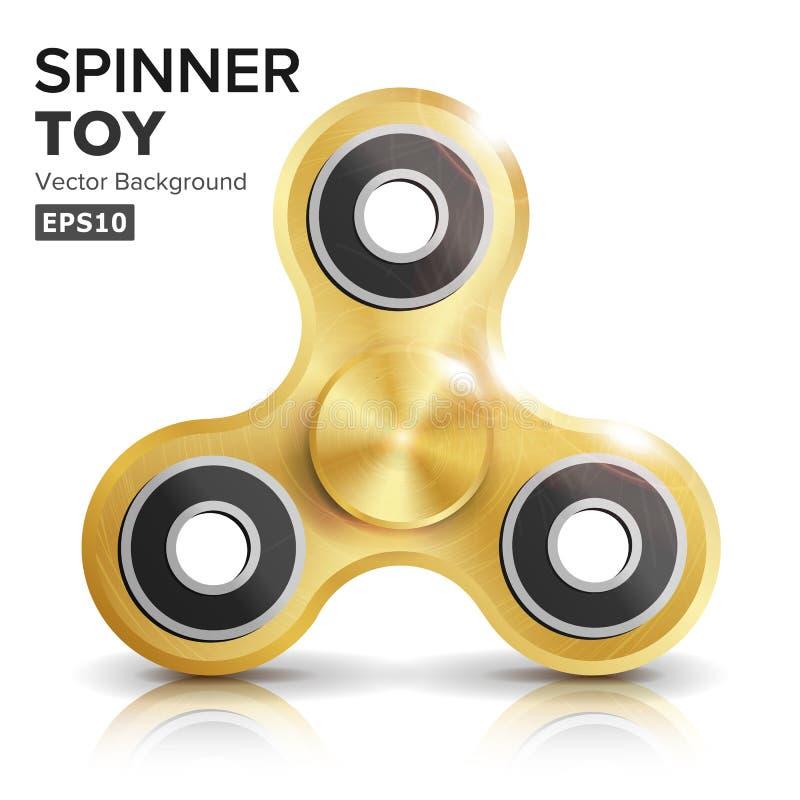 Girador Toy Vetora da mão da inquietação Inquietação realística Toy For Increased Focus do ouro, alívio de tensão Metálico dourad ilustração do vetor
