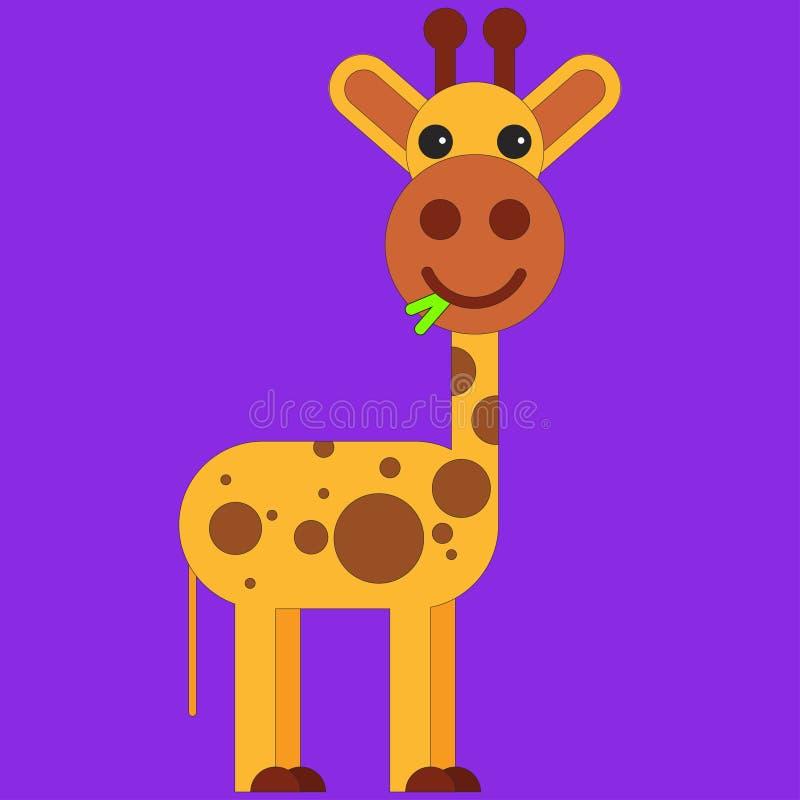 Giraf in beeldverhaal vlakke stijl royalty-vrije illustratie