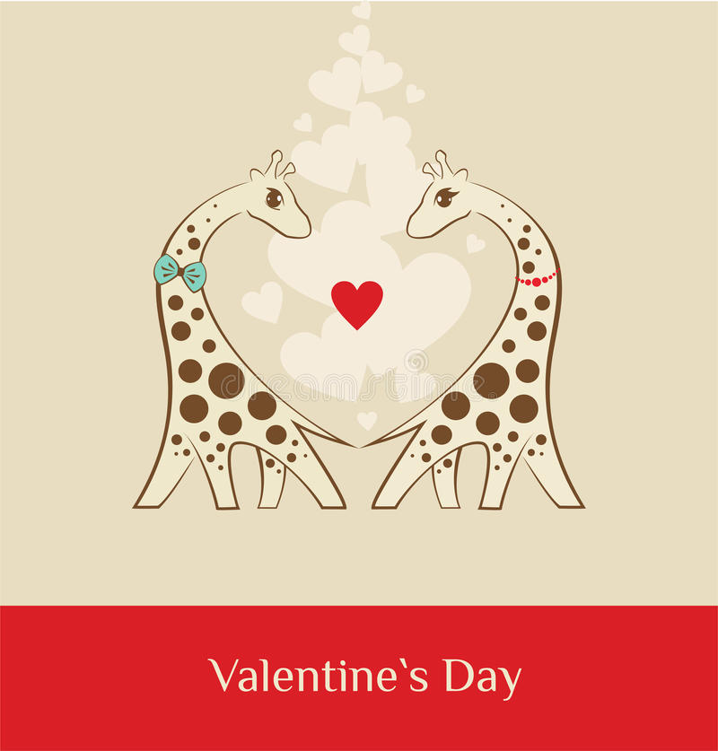 Giraf - bruine valentijnskaartendag stock foto's